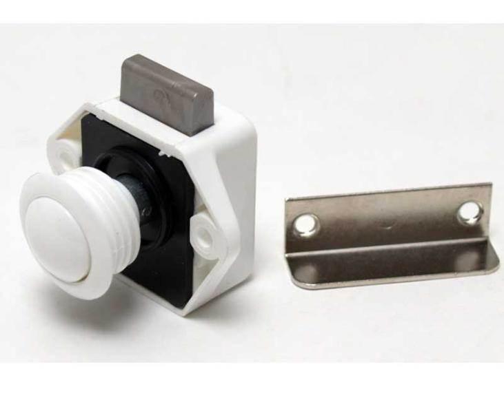 Fermeture meuble push lock mini blanc Fermeture porte aimant
