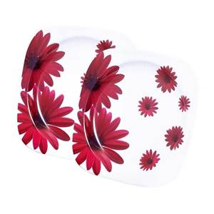 LOT DE 2 ASSIETTES PLATES - RED FLOWER