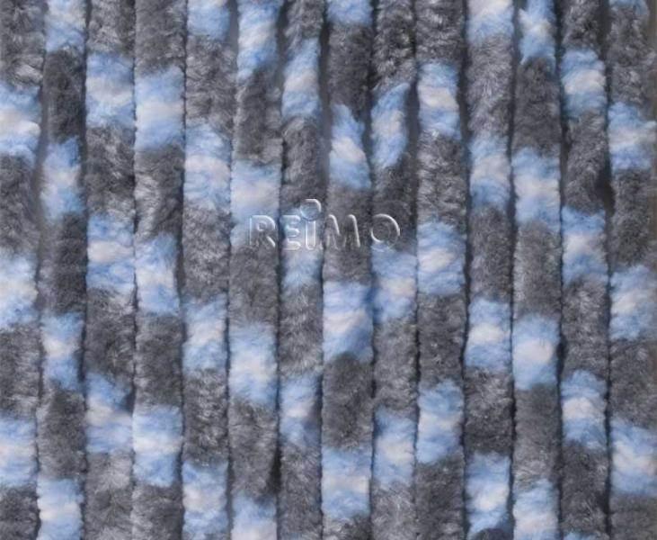 rideau chenille anti insectes gris bleu blanc 56x205 cm