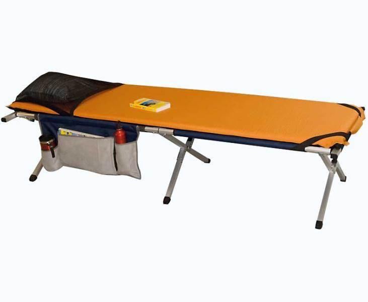 lit de camp alu euphrat ii avec poches de rangements et matelas auto gonflant. Black Bedroom Furniture Sets. Home Design Ideas