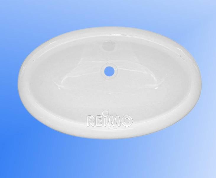 Lavabo Encastrable Oval En Plastique Blanc 450 X 275 X 150 Mm