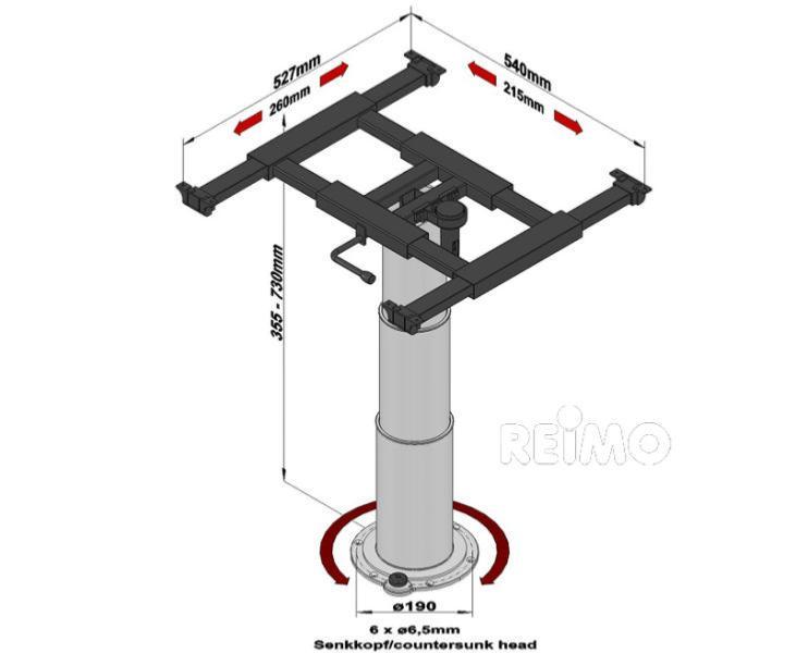 Pied De Table Telescopique 355 730mm Plateau Coulissant