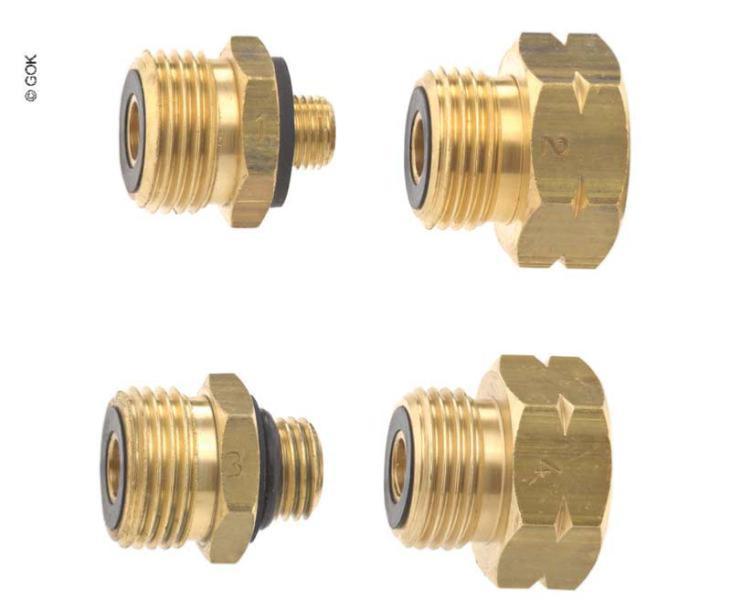 TGO Jeu de 4 adaptateurs pour le branchement de d/étendeurs sur robinets de gaz europ/éens