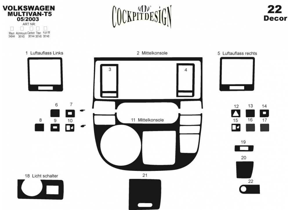 habillage tableau de bord silicone vw t5 multivan apr s 2003 22 pi ces. Black Bedroom Furniture Sets. Home Design Ideas