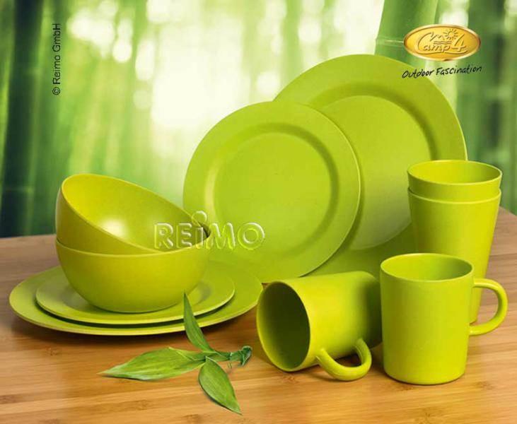 service a vaisselle bambou 2 personnes lugo vert 10 pi ces. Black Bedroom Furniture Sets. Home Design Ideas