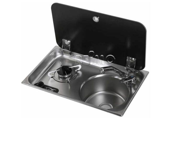 Combine 1 feu evier rond couvercle 530x325x170mm - Combine evier plaque de cuisson ...