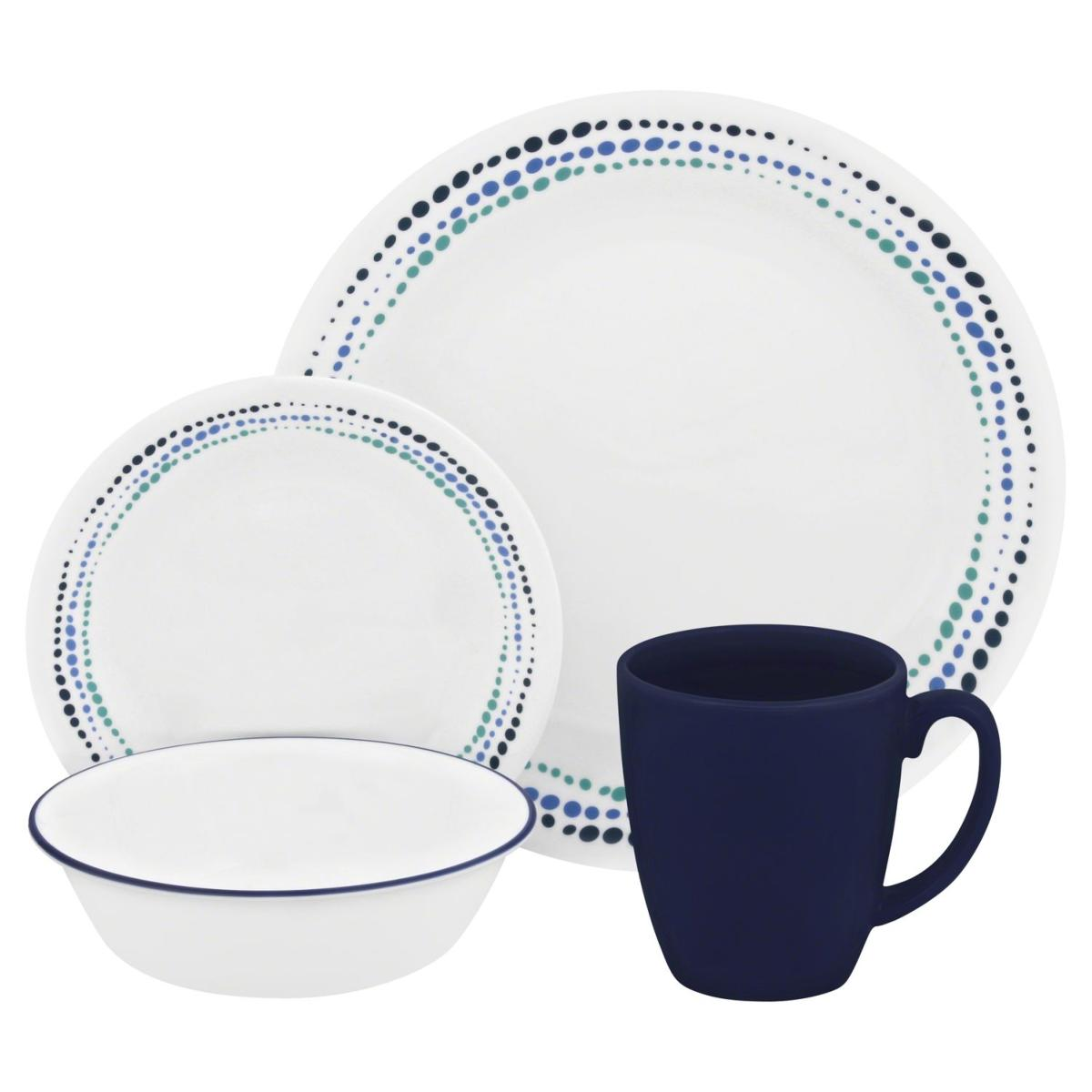 set de vaisselle corelle rond ocean blues 16 pi ces. Black Bedroom Furniture Sets. Home Design Ideas