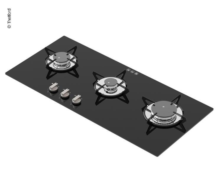 nouveau concept 279cd 8f2b6 PLAQUE CUISSON EN VERRE 3 FEUX THETFORD Topline 931 - 350x770mm
