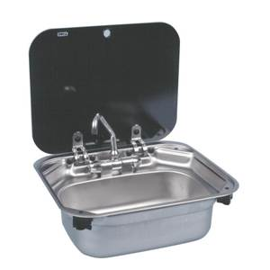 EVIER INOX RECTANGULAIRE + COUVERCLE VERRE Dometic SNG 4237
