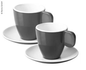 Ensemble de 2 tasses à expresso CAMP4 anthracite/blanc