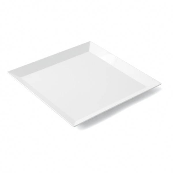 assiette plate melamine carree blanche 24 5x24 5cm. Black Bedroom Furniture Sets. Home Design Ideas