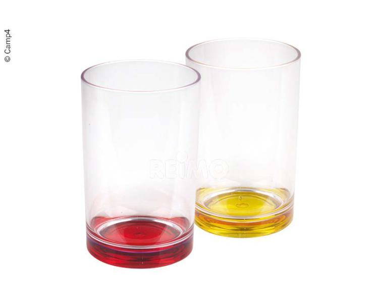 LOT DE 2 VERRES - 350ML- ROUGE-JAUNE