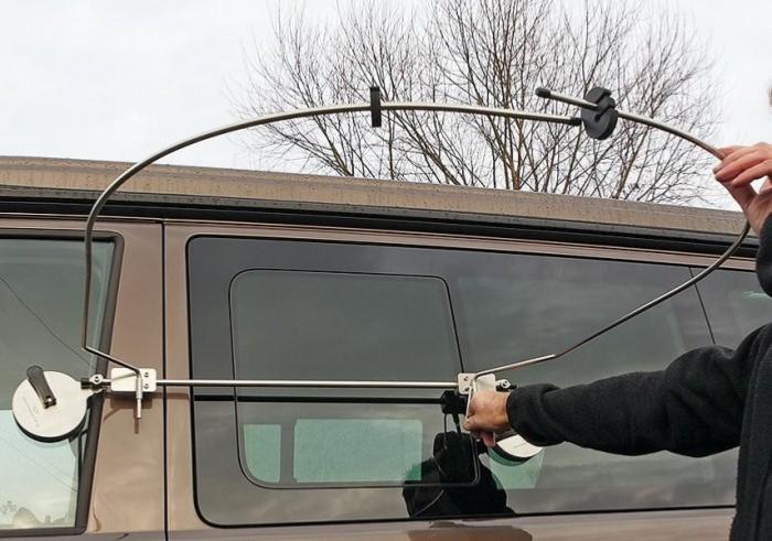 cabine douche exterieure flexible sur ventouses multifix