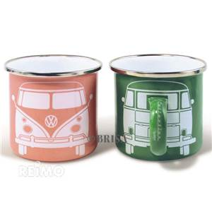 LOT DE 2 TASSES A CAFE EMAILLEES VERT/ABRICOT - VW COLLECTION