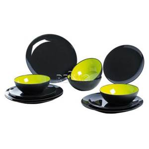 service a vaisselle gimex 4 personnes gris vert citron 12 pi ces. Black Bedroom Furniture Sets. Home Design Ideas