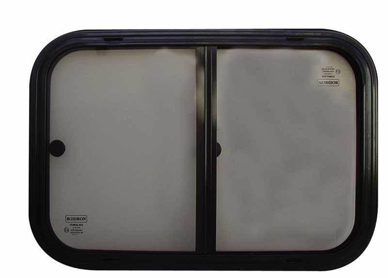 fenetre coulissante verre securit noire 600 x 250 mm