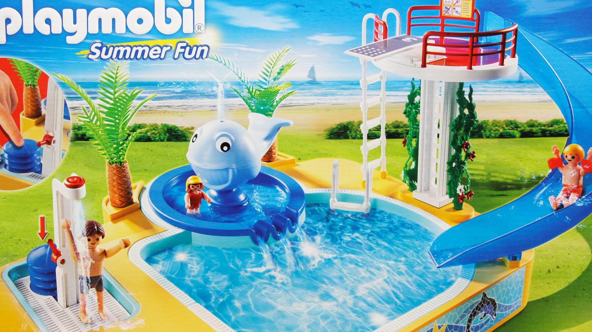 Playmobil famille avec piscine et plongeoir for Piscine avec terrasse playmobil