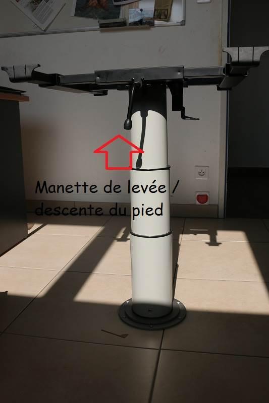 Pied de table telescopique 355 730mm plateau coulissant for Plateau table interieur camping car