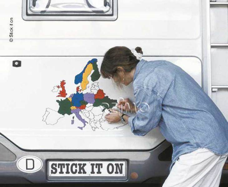 Autocollants carte europe 60x50cm for Stickers exterieur pour camping car