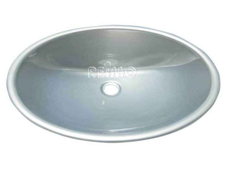 Lavabo encastrable oval en plastique argent 450 x 350 x 145 mm for Lavabo plastique pour garage