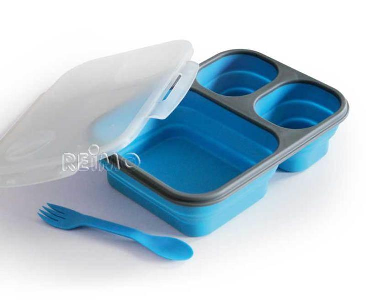 Boite repas en silicone pliable avec couverts et 3 compartiments camp 4 - Disposition des couverts en fin de repas ...