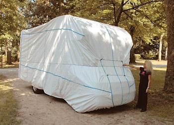 protection totale hivernage tyvek camping car blanc h315 l235 l550 cm. Black Bedroom Furniture Sets. Home Design Ideas