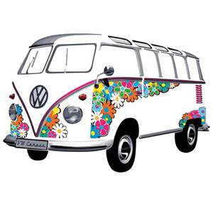 STICKER MURAL VW SAMBA FLOWER 180X120cm