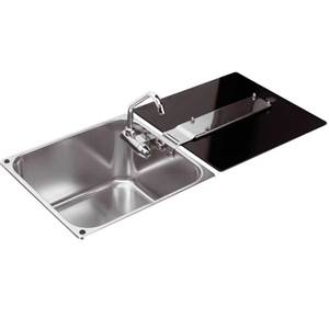 EVIER INOX + COUVERCLE VERRE TREMPE CAN L35 x 36 x 18cm