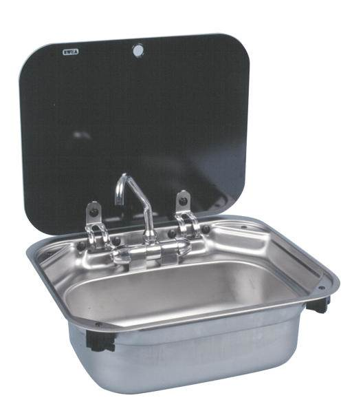 Evier inox rectangulaire couvercle verre dometic sng 4237 - Evier rectangulaire cuisine ...