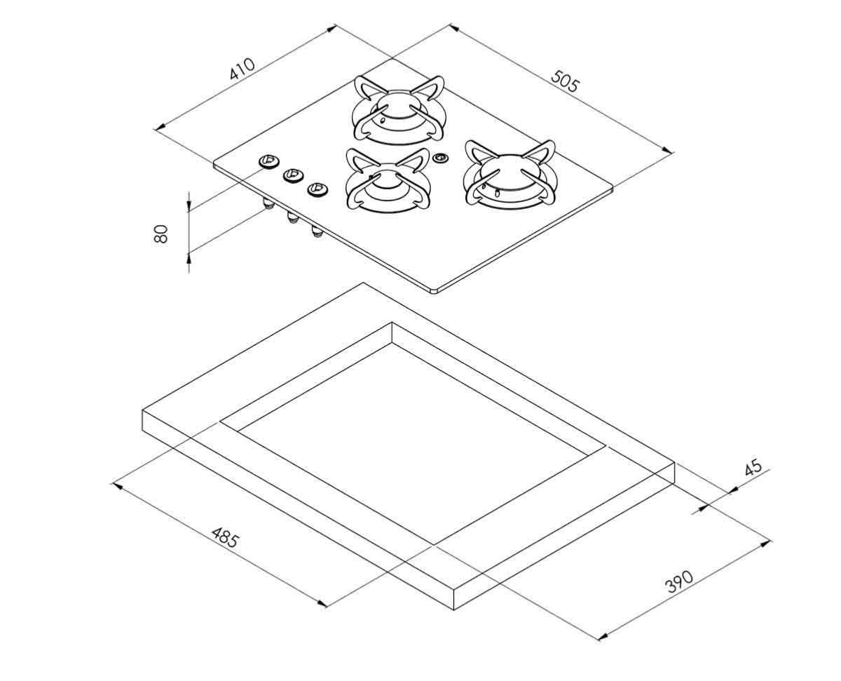 plaque de cuisson gaz 3 feux verre trempe can 550x410mm. Black Bedroom Furniture Sets. Home Design Ideas