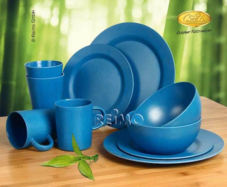 service a vaisselle bambou 2 personnes lugo bleu 10 pi ces. Black Bedroom Furniture Sets. Home Design Ideas